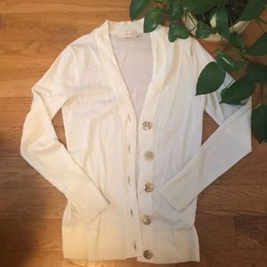 Tory Burch cream cardigan with signature buttons